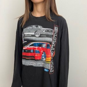 Vintage Shirts - Vintage Mustang Ford GT Black Long Sleeve